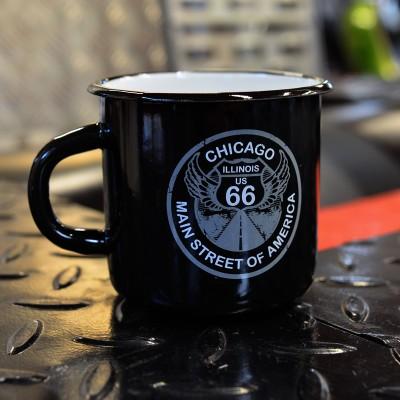 Smaltovaný hrnek ROUTE 66 - černý