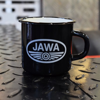 Smaltovaný hrnek JAWA PIONÝR - černý
