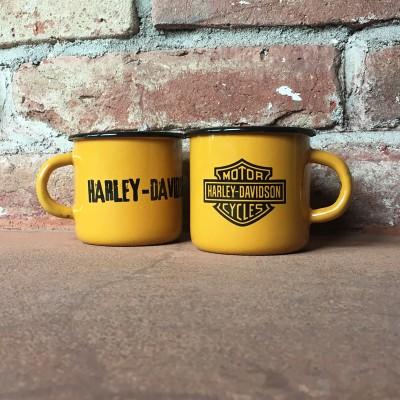 Smaltovaný hrnek HARLEY-DAVIDSON - žlutý