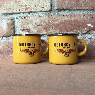 Smaltovaný hrnek MOTORCYCLES RACE TEAM žlutý
