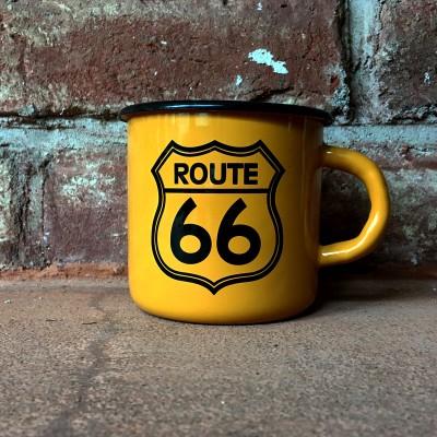 Smaltovaný hrnek ROUTE 66 - žlutý