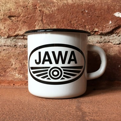 Smaltovaný hrnek JAWA PIONÝR