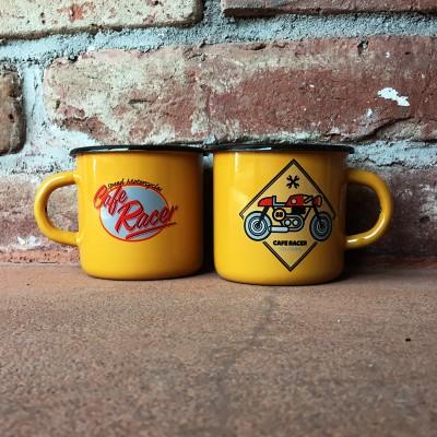 Smaltovaný hrnek CAFE RACER žlutý