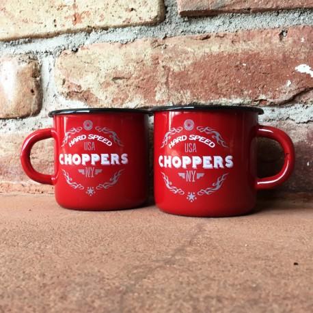 Smaltovaný hrnek CHOPPERS červený