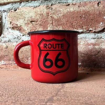 Smaltovaný hrnek ROUTE 66 - červený