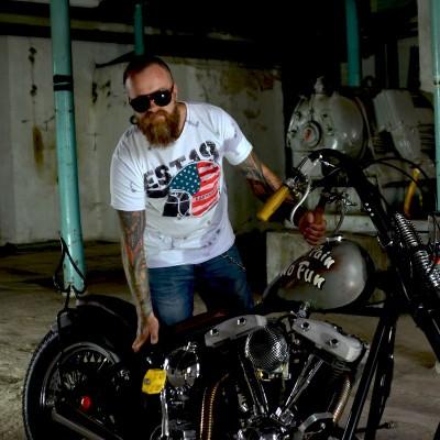 Pánské motorkářské tričko EST. 1970 white